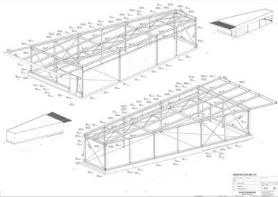 Grundzeichung einer Einstellhalle / Lagerhalle